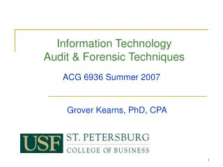 Information Technology Audit  Forensic Techniques