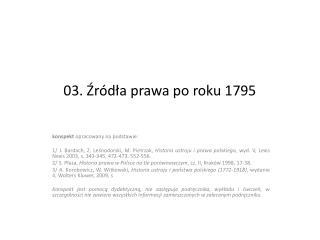 03. Źródła prawa po roku 1795