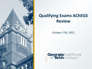 Qualifying Exams  AChEGS  Review