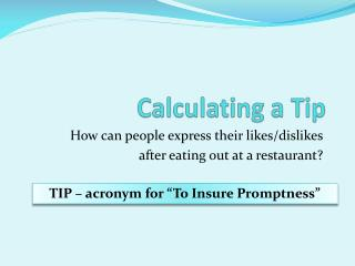 Calculating a Tip