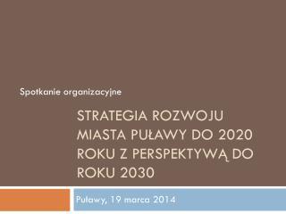Strategia rozwoju miasta Puławy do 2020 roku z perspektywą do roku 2030