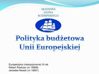 Polityka bud?etowa Unii Europejskiej