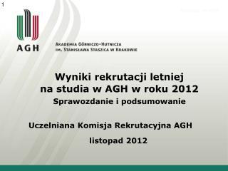 Wyniki rekrutacji letniej na studia w AGH w roku 2012