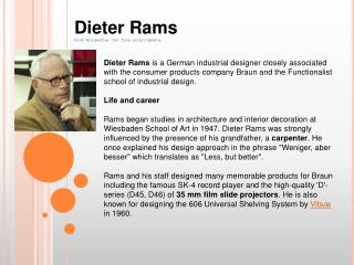 Dieter Rams From Wikipedia, the free encyclopedia