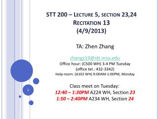 STT 200 � Lecture 5, section 23,24 Recitation 13 (4/9/2013)
