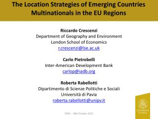 The Location Strategies of Emerging Countries  Multinationals in  the EU Regions