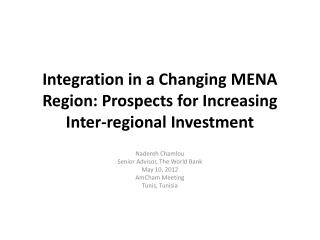Integration in a Changing MENA Region: Prospects for Increasing Inter-regional Investment