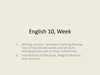 English 10, Week