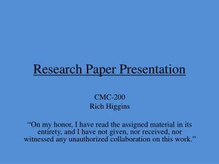 Research Paper Presentation