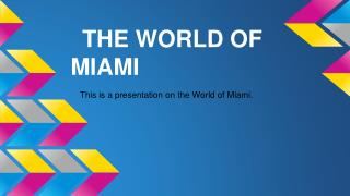 THE WORLD OF MIAMI