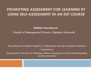 Promoting assessment for learning by using self-assessment in an ESP course