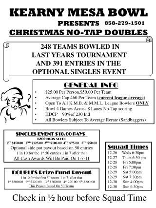 KEARNY MESA BOWL PRESENTS CHRISTMAS NO-TAP DOUBLES