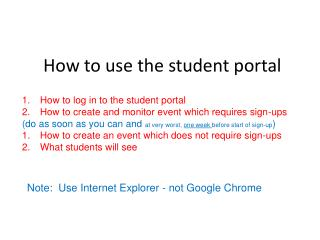 How to use the student portal