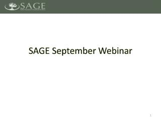 SAGE September Webinar