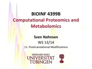 BIOINF  4399B Computational Proteomics and Metabolomics