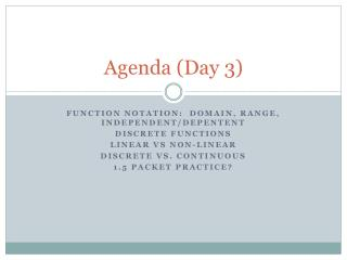 Agenda (Day 3)