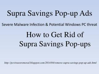 Get Rid of Supra Savings Pop-up Ads