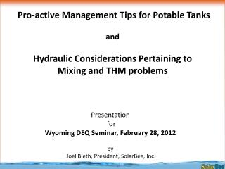 Presentation  for      Wyoming DEQ Seminar, February 28, 2012 by