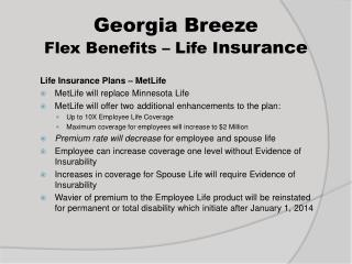 Georgia Breeze  Flex Benefits – Life I nsurance