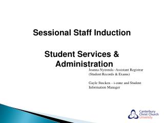 Sessional Staff Induction Student Services & Administration