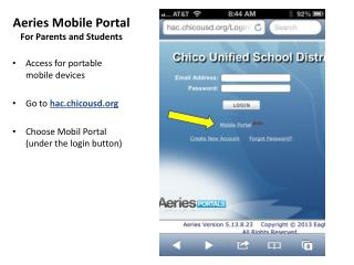 Aeries Mobile Portal For Parents and Students