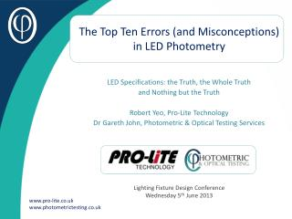 The Top Ten Errors (and Misconceptions) in LED Photometry