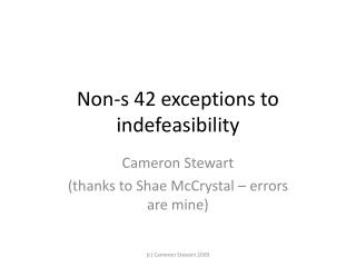 Non-s 42 exceptions to indefeasibility