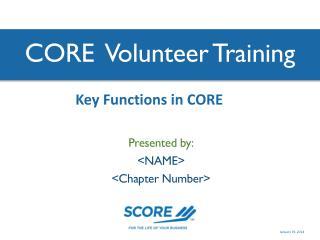CORE  Volunteer Training