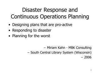 Disaster Response and Continuous Operations Planning
