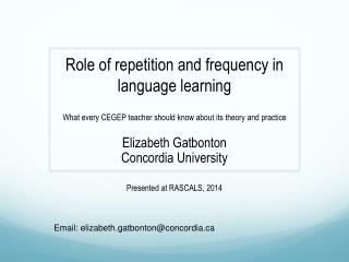 Elizabeth Gatbonton Concordia University