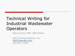 Technical Writing for Industrial Wastewater Operators