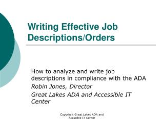 Writing Effective Job Descriptions