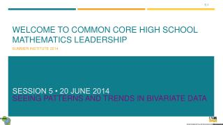Welcome to Common Core High School Mathematics Leadership