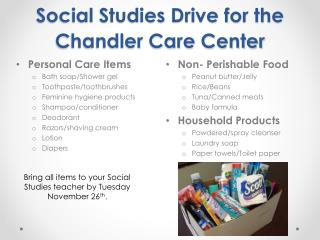 Social Studies Drive for the Chandler Care Center