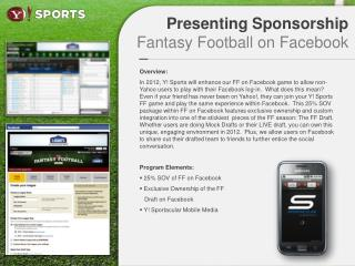 Presenting Sponsorship Fantasy Football on Facebook