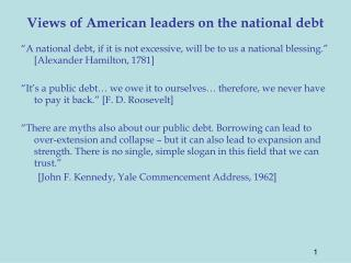 Views of American leaders on the national debt