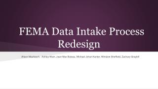 FEMA Data Intake Process Redesign
