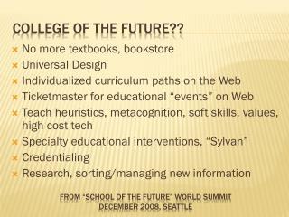 College of the Future??