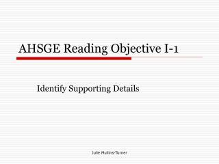 AHSGE Reading Objective I-1
