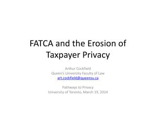 FATCA and the Erosion of Taxpayer Privacy