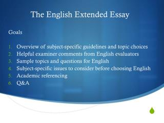 The English Extended Essay