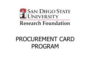 PROCUREMENT CARD PROGRAM