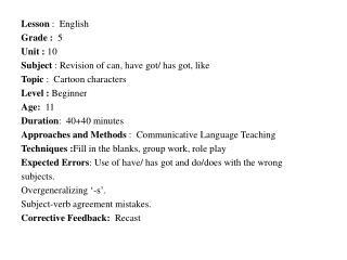 Lesson  : English Grade :  5 Unit  :  10