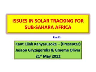 ISSUES IN SOLAR TRACKING FOR SUB-SAHARA AFRICA