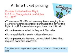 Airline ticket pricing