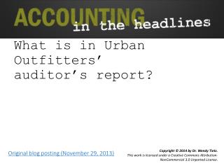 What is in Urban Outfitters' auditor's report?
