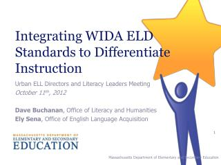 Integrating WIDA ELD Standards to Differentiate Instruction