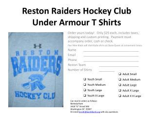 Reston Raiders Hockey Club Under  Armour  T Shirts