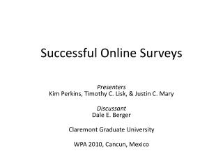 Successful Online Surveys