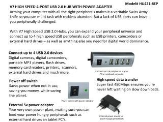 V7 HIGH SPEED  4-PORT  USB  2.0 HUB WITH POWER  ADAPTER